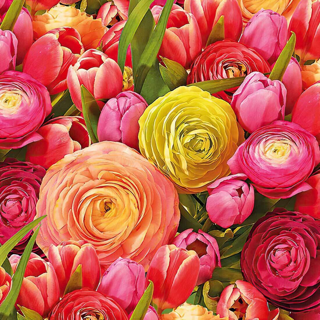 Decoupage Paper Napkins - Floral - Ranunculus 13x13 (1 Sheet)