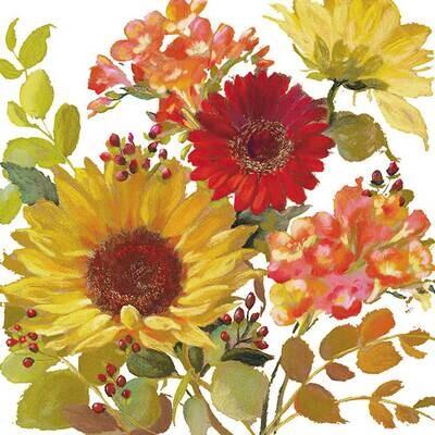 Decoupage Paper Napkins - Floral - Sunny Flowers Cream 13x13 (1 Sheet)