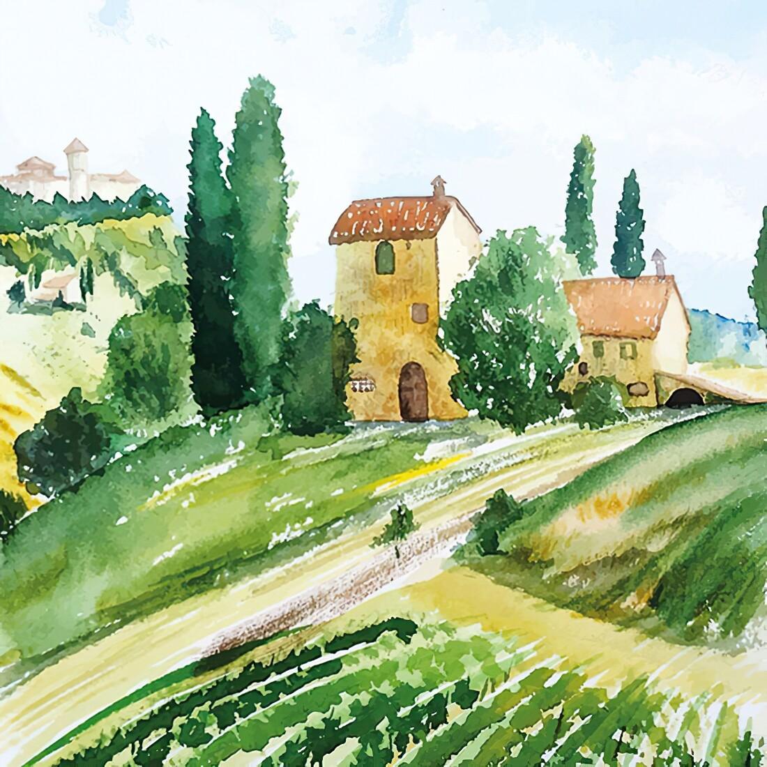 Decoupage Paper Napkins - Outdoor/Scenic - Tuscany Watercolour 13x13 (1 Sheet)