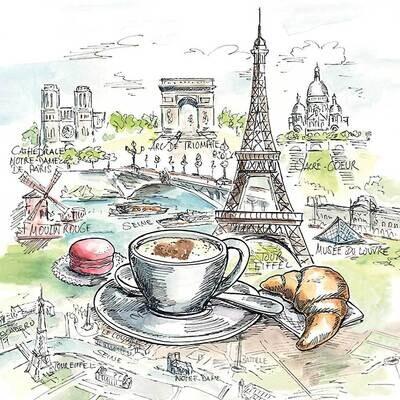 Decoupage Paper Napkins - Scenic -French Breakfast 13x13 (1 Sheet)