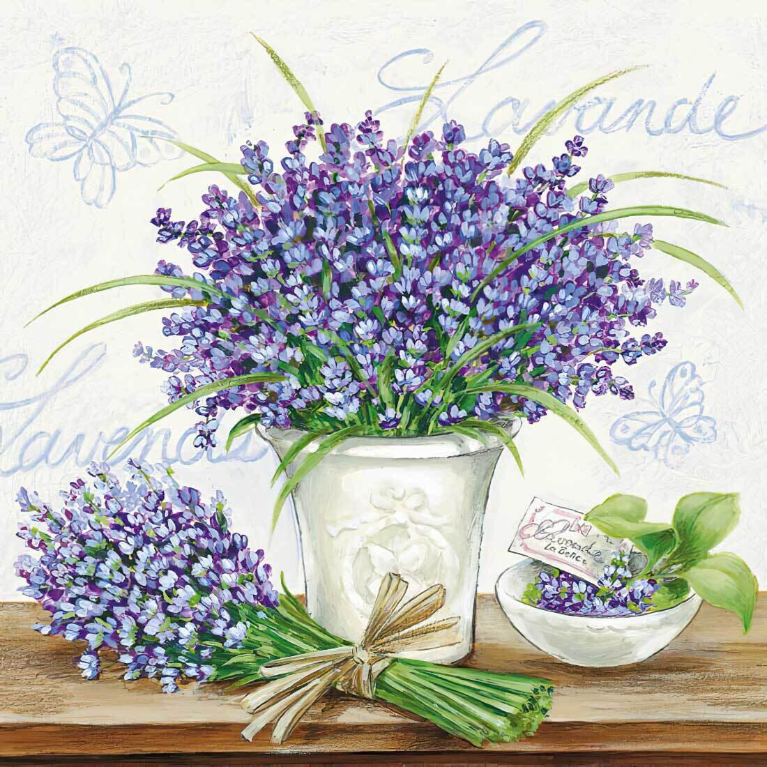 Decoupage Paper Napkins - Floral - Lavender Scene Cream 13x13 (1 Sheet)