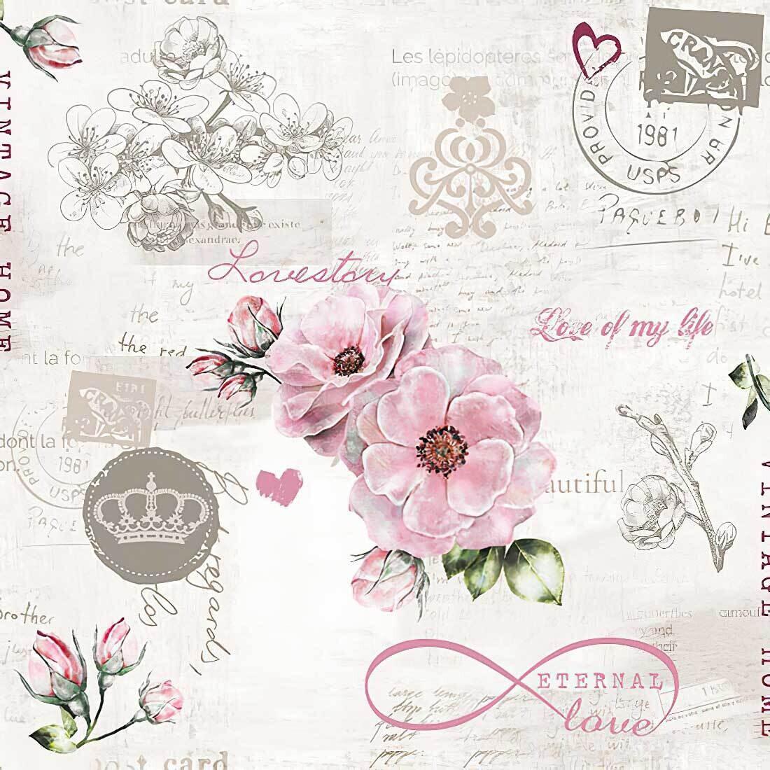 Decoupage Paper Napkins - Floral - Eternal Love 13x13 (1 Sheet)