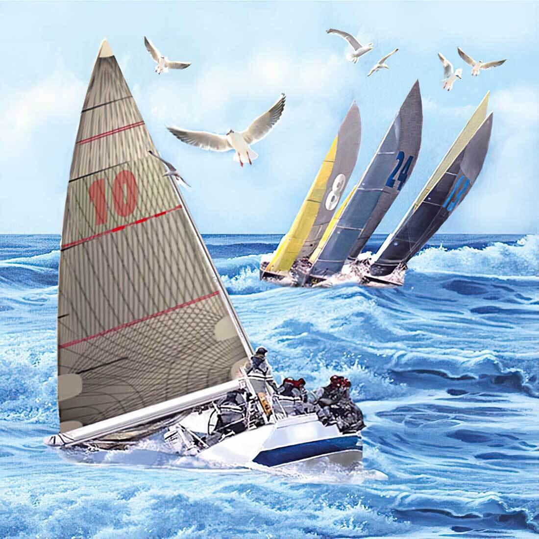 Decoupage Paper Napkins - Sail Boats 13x13 (1 Sheet)
