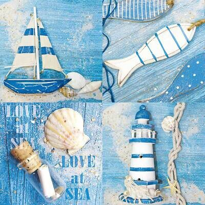 Decoupage Paper Napkins - Love At Sea 13x13 (1 Sheet)