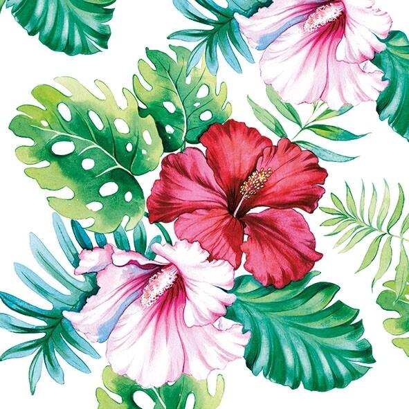 Decoupage Paper Napkins - Floral - Hibiscus Floral White (1 Sheet)