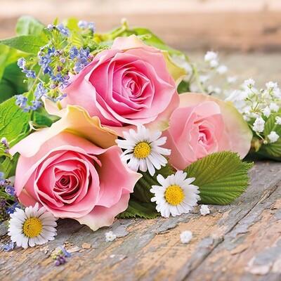 Decoupage Paper Napkins - Floral - Roses Pink (1 Sheet)