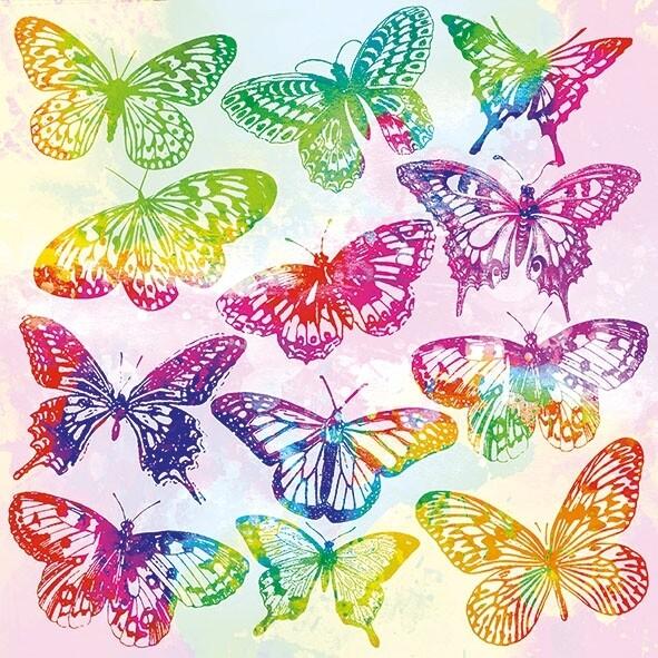Decoupage Paper Napkins - Butterfly - Aquarell Butterflies Mix (1 Sheet)