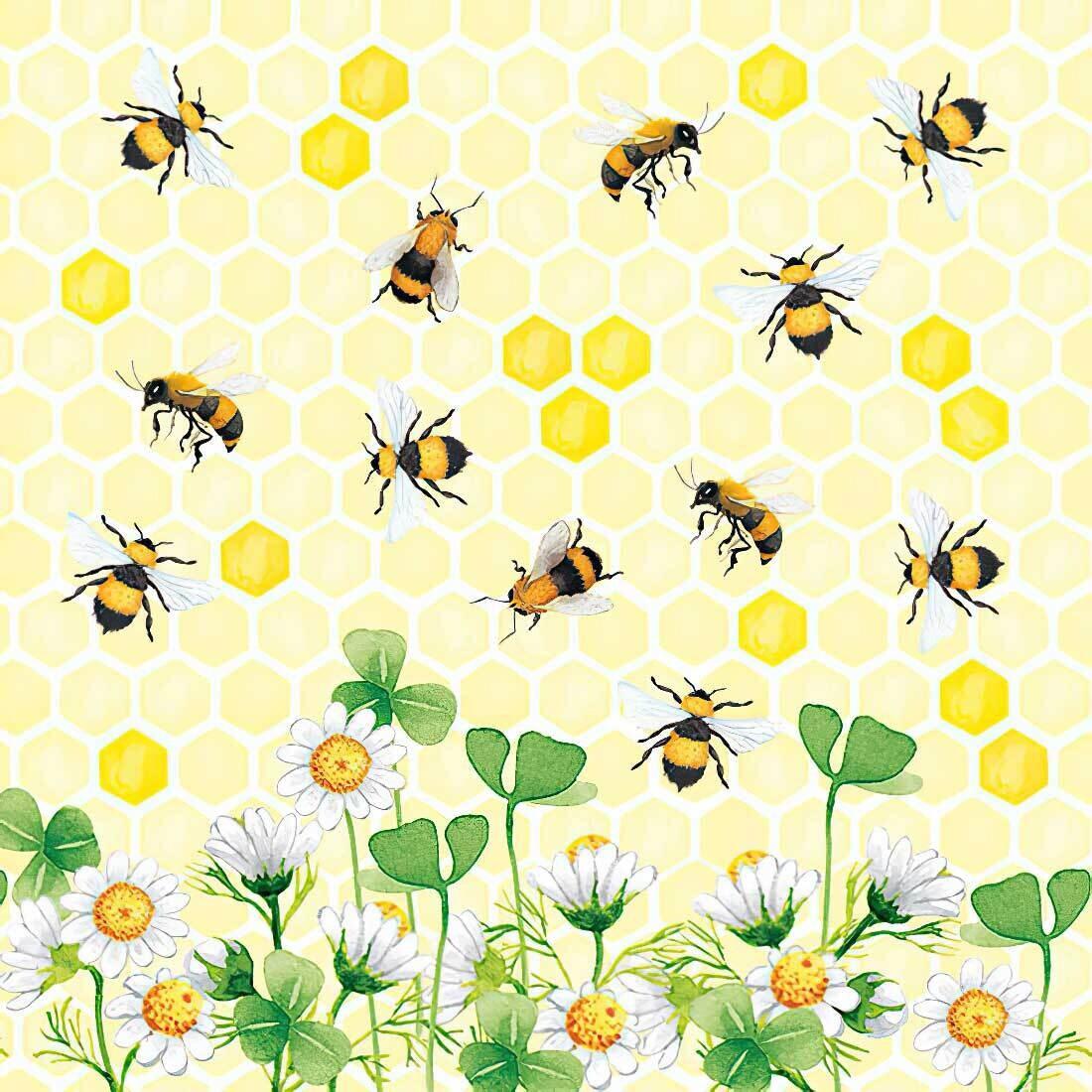 Decoupage Paper Napkins - Bees Joy (1 Sheet)