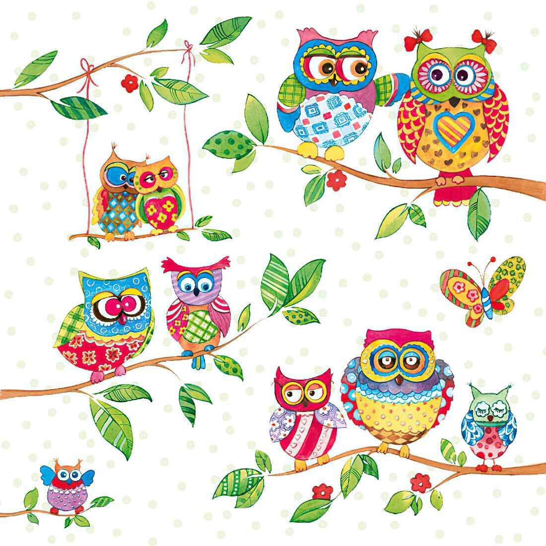 Decoupage Paper Napkins - Bird - Owls In Summerland (1 Sheet)