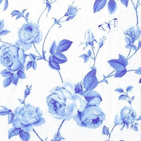 Decoupage Paper Napkins - Floral - Rambling Rose White Blue (1 Sheet)