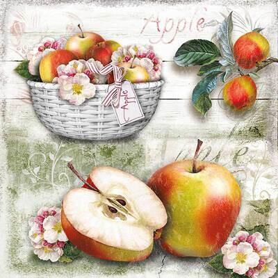 Decoupage Paper Napkins - Apple Basket 13x13 (1 Sheet)