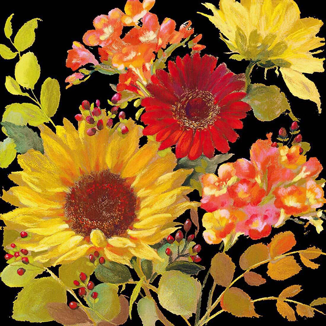 Decoupage Paper Napkins - Floral - Sunny Flowers Black 13x13 (1 Sheet)