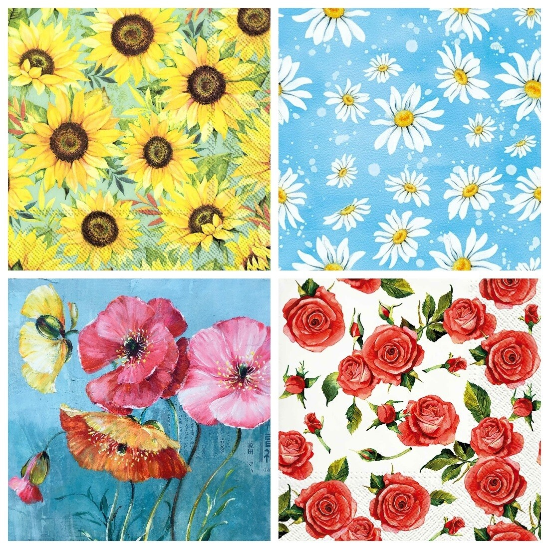 Decoupage Paper Napkins - Floral 28 - Mixed Flowers (4 Sheets)