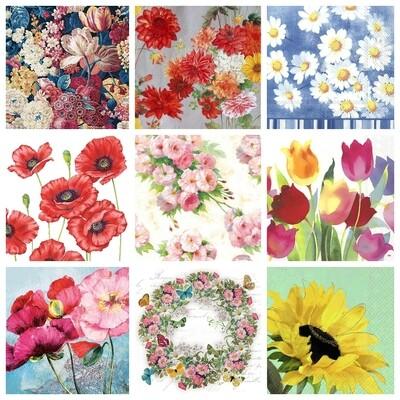 Decoupage Paper Napkins - Mixed Florals 1 (9 Sheets)