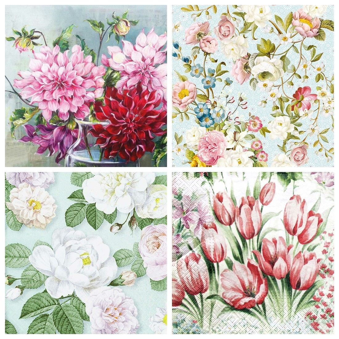 Decoupage Paper Napkins - Floral 30 - Mixed Flowers (4 Sheets)