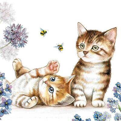 Decoupage Paper Napkins - Animals - Cats and Bees