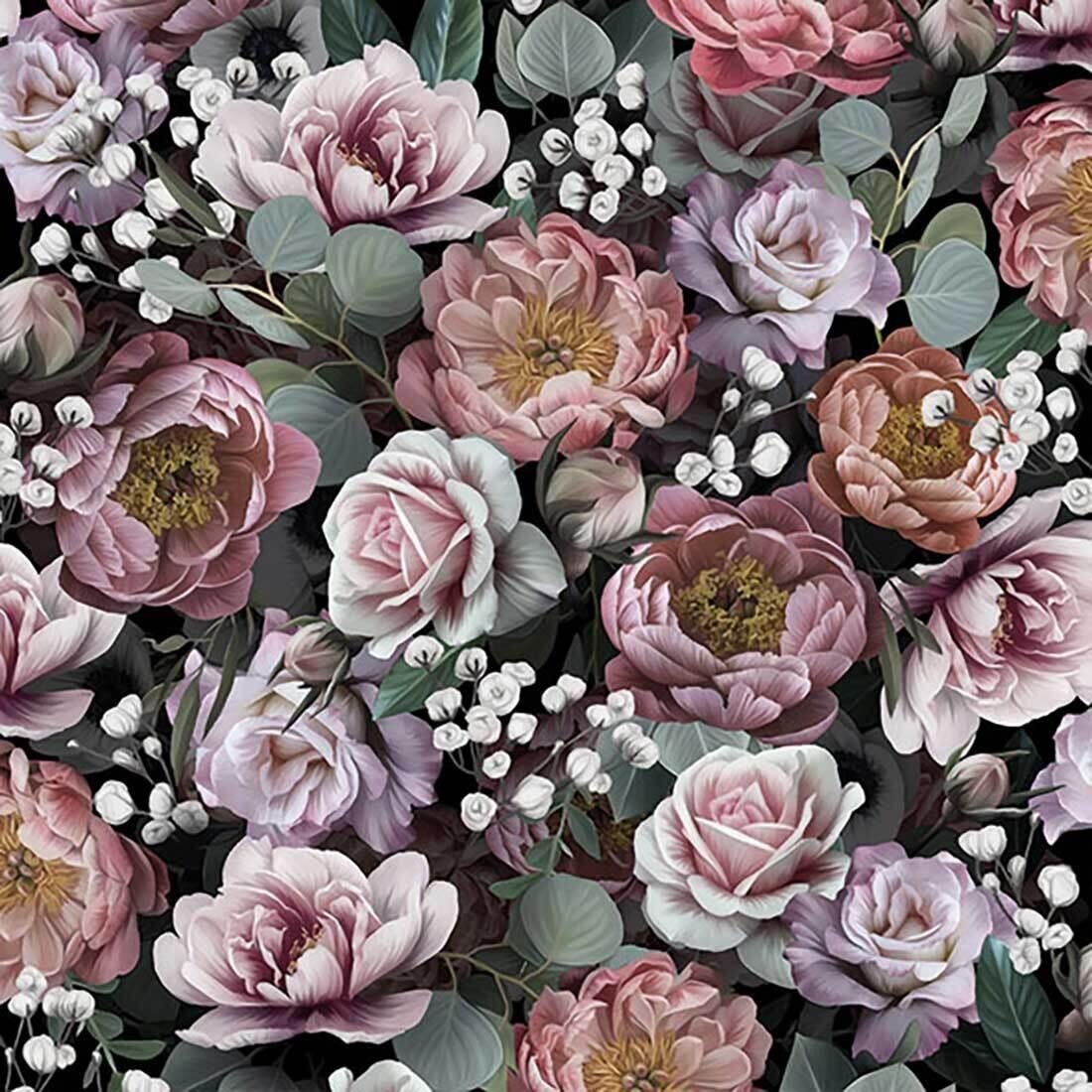 Decoupage Paper Napkins - Floral - Vintage Flowers Black (1 Sheet)