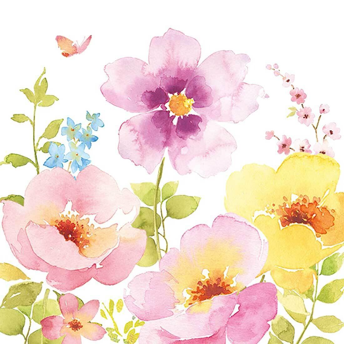 Decoupage Paper Napkins - Floral - Water Colours (1 Sheet)