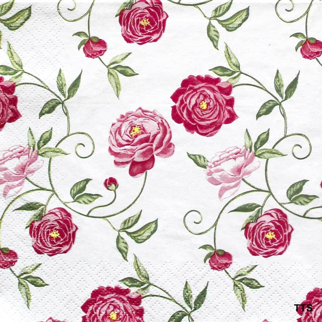 Decoupage Paper Napkins - Floral - Peony Pink (1 Sheet)