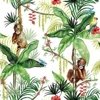 Decoupage Paper Napkins - Animals - Orangutan White (1 Sheet)