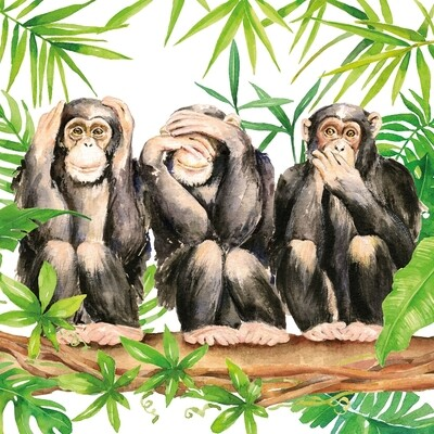 Decoupage Paper Napkins - Animals - Three Apes (1 Sheet)