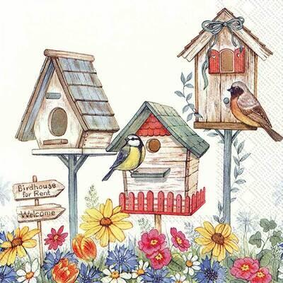 Decoupage Paper Napkins - Bird - Birdhouse For Rent (1 Sheet)