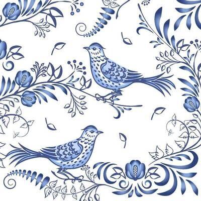 Decoupage Paper Napkins - Bird - Porcelain Bird (1 Sheet)