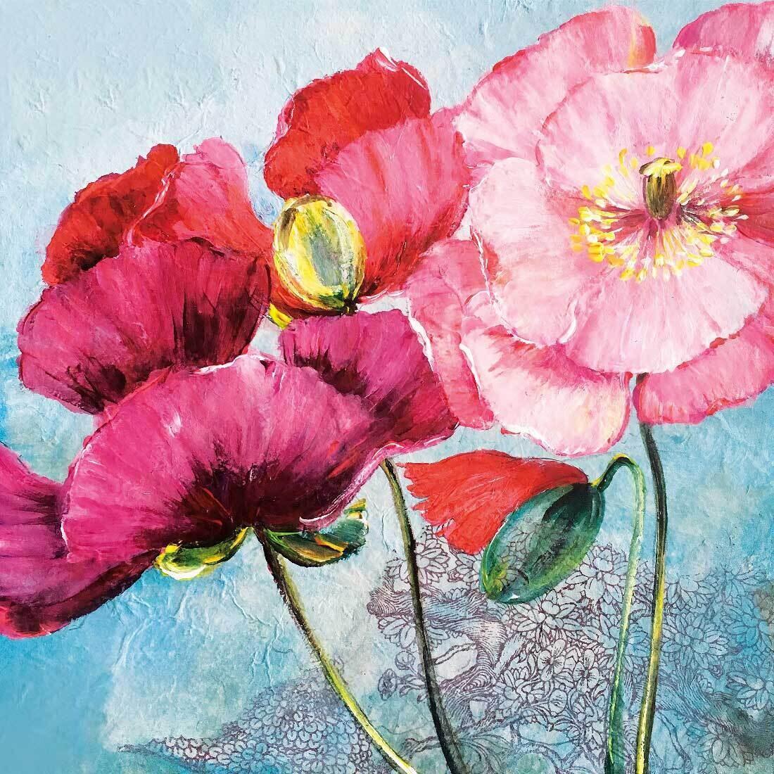 Decoupage Paper Napkins - Floral Poppy - Pavot (1 Sheet)