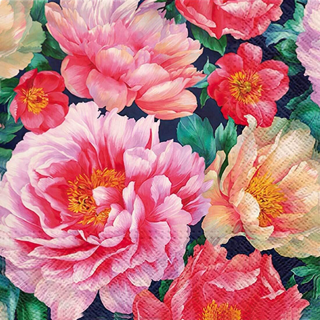 Decoupage Paper Napkins - Floral - Peonies Bloom (1 Sheet)