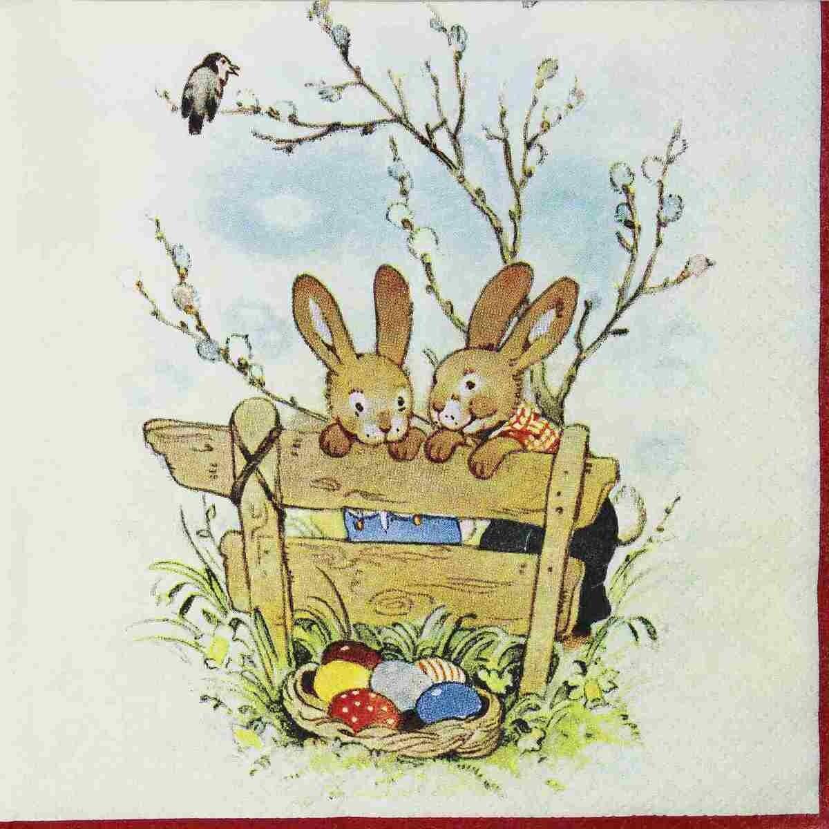 Decoupage Paper Napkins - Animals - Bunny Friends (1 Sheet)