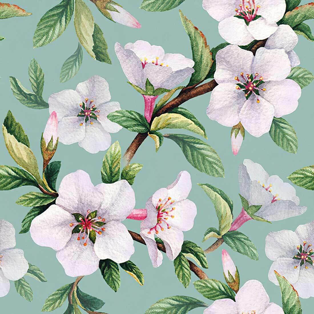 Decoupage Paper Napkins - Floral - Fleur Green (1 Sheet)