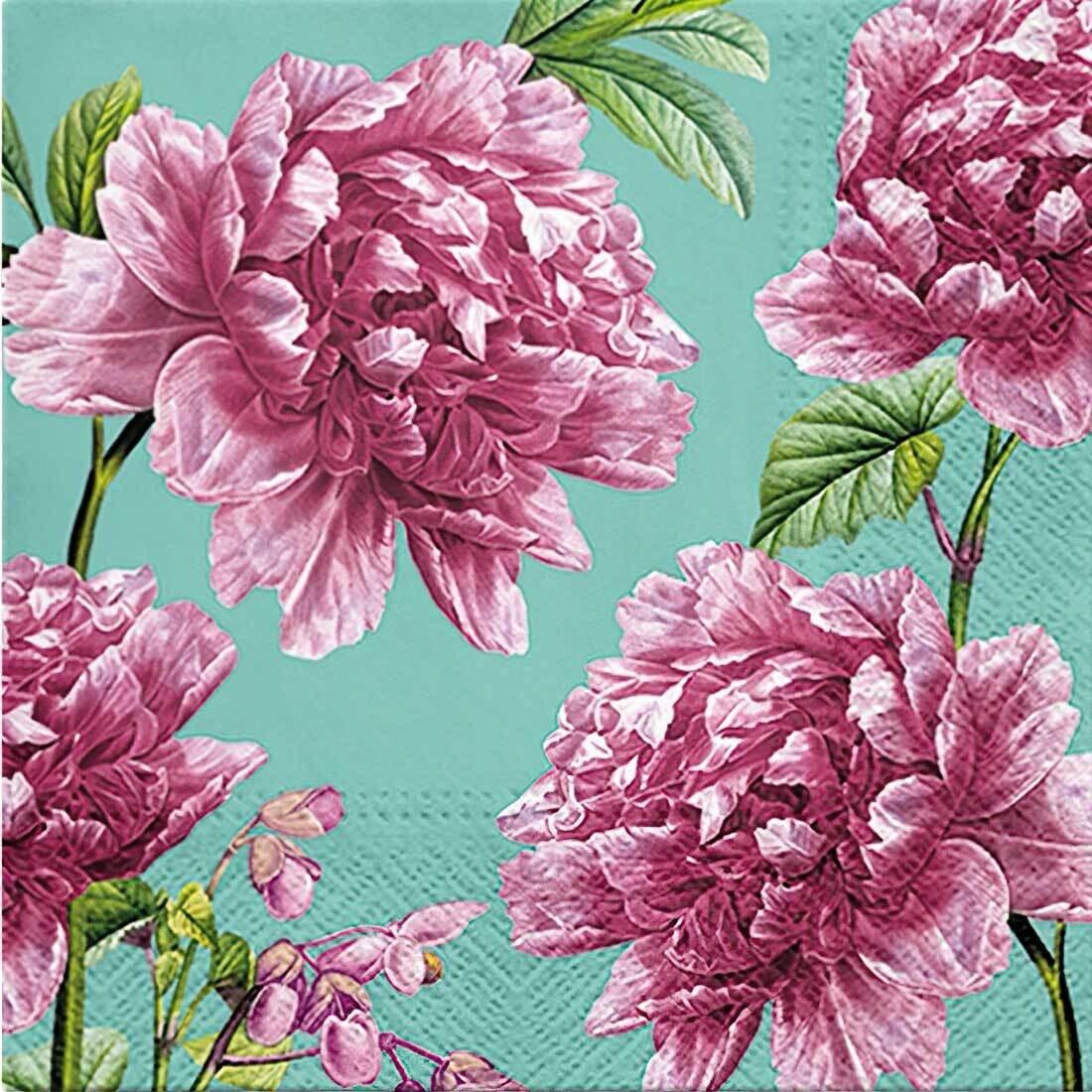Decoupage Paper Napkins - Floral - Beautiful Peonies (1 Sheet)