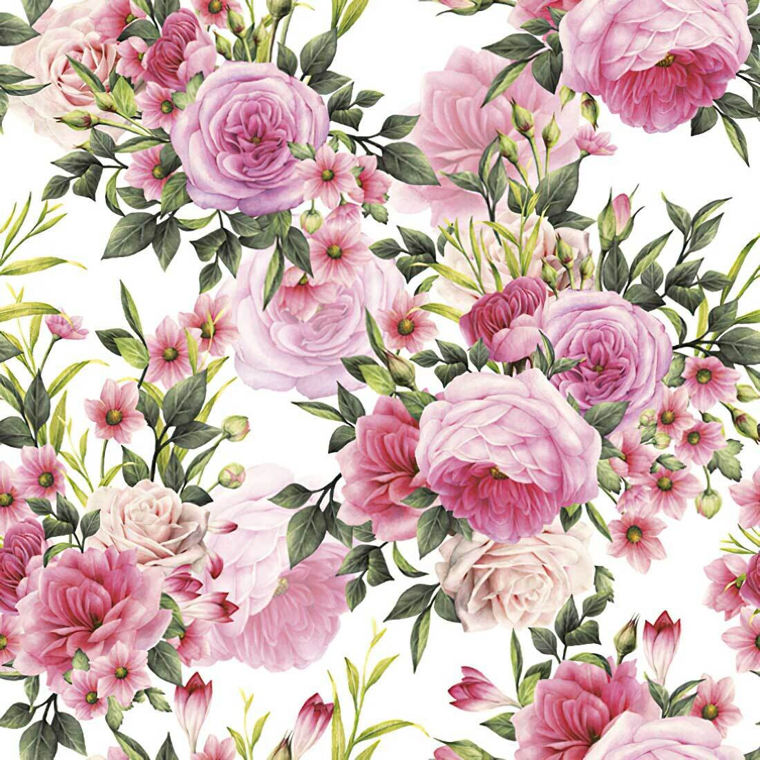Decoupage Paper Napkins - Floral - Rose Twigs with Leaves and Flowers  (1 Sheet)
