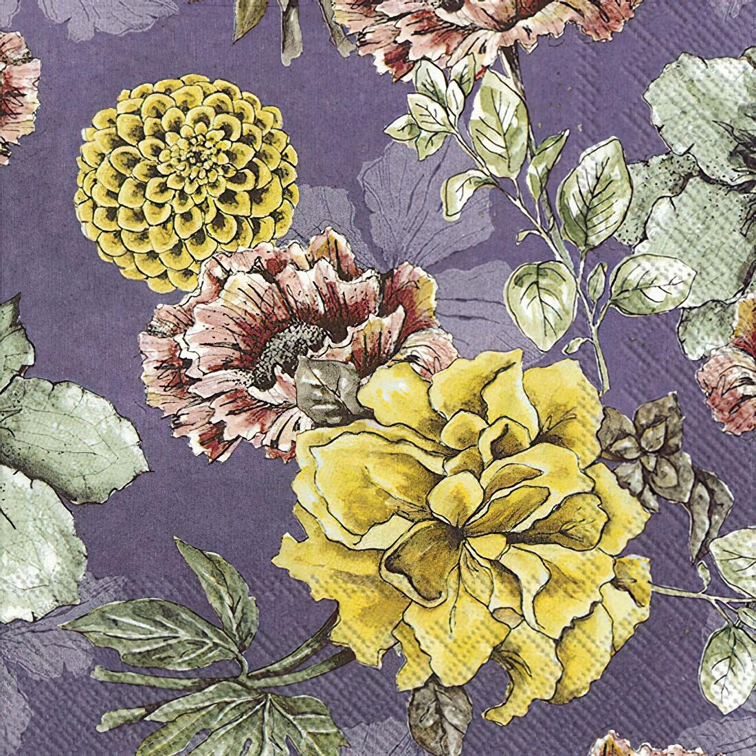 Decoupage Paper Napkins - Floral - Blossom Tale Lilac (1 Sheet)