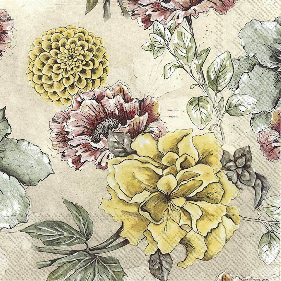Decoupage Paper Napkins - Floral - Blossom Tale Cream (1 Sheet)