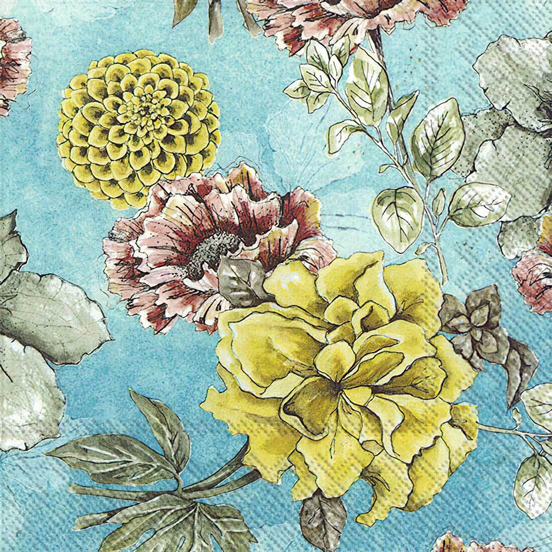 Decoupage Paper Napkins - Floral - Blossom Tale Turquoise (1 Sheet)