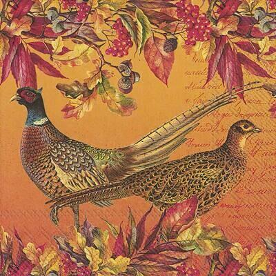 Decoupage Paper Napkins - Bird - Golden Pheasants (1 Sheet)
