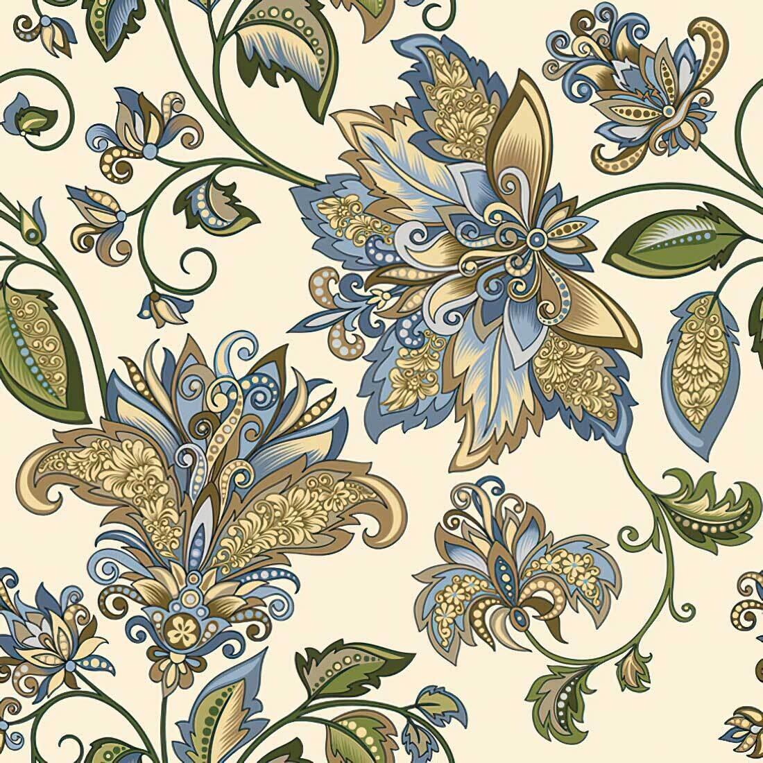 Decoupage Paper Napkins - Pattern - Golden Blue Hindi Pattern (1 Sheet)