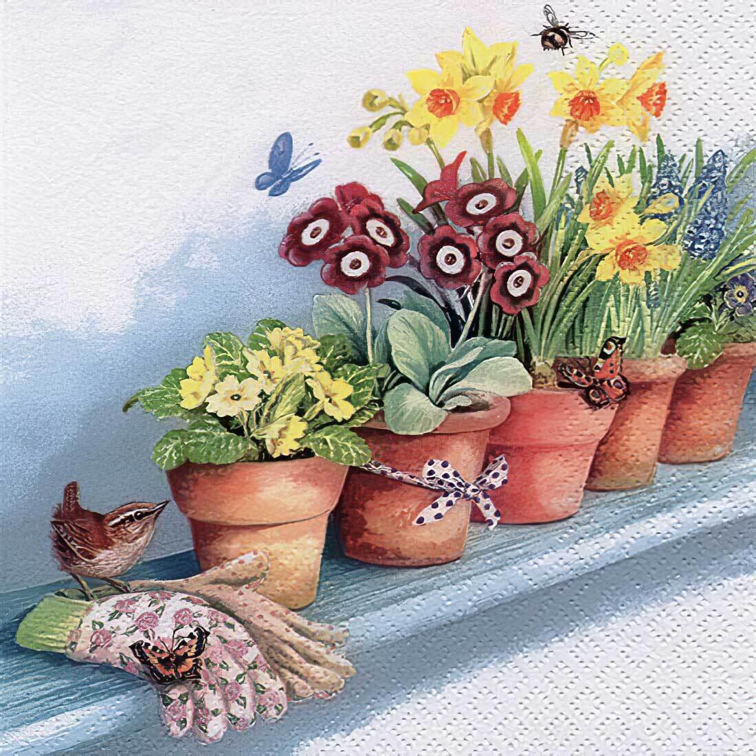 Decoupage Paper Napkins - Floral - Windowsill with Flower Pots  (1 Sheet)