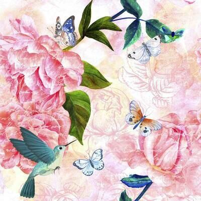 Decoupage Paper Napkins - Butterflies Bird Flowers - Lovely Spring (1 Sheet)