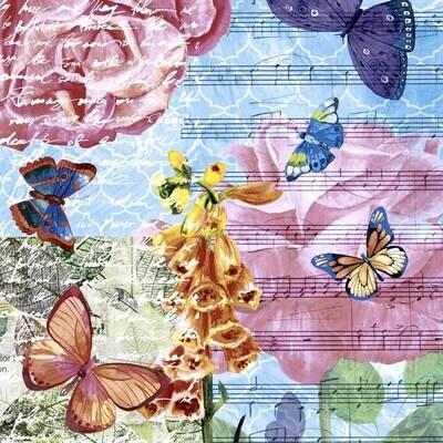 Decoupage Paper Napkins - Butterflies - Musical Garden (1 Sheet)