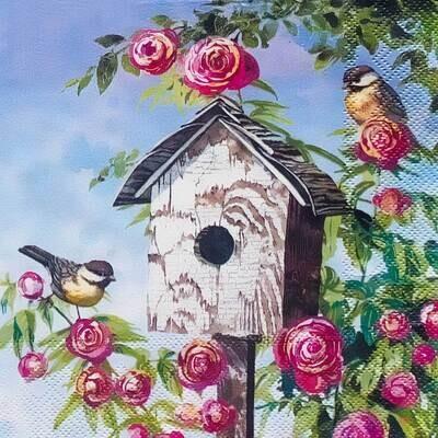 Decoupage Paper Napkins - Bird - Lovely Birdhouse (1 Sheet)