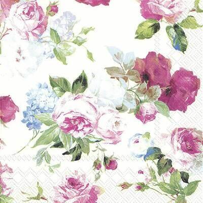 Decoupage Paper Napkins - Floral - Scarlet White Rose (1 Sheet)