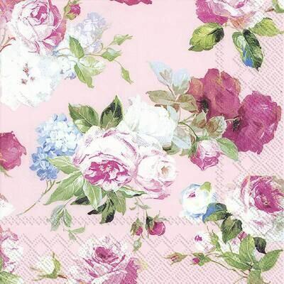 Decoupage Paper Napkins - Floral - Scarlet Light Rose (1 Sheet)