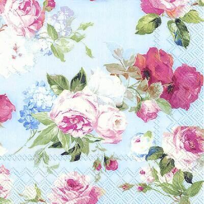 Decoupage Paper Napkins - Floral - Scarlet Light Blue Rose (1 Sheet)
