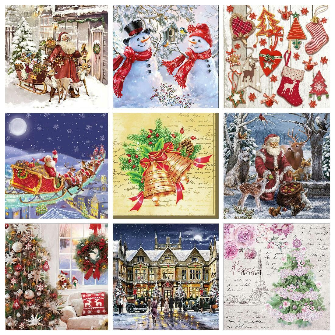 Decoupage Paper Napkins - Christmas/Xmas - Set1 (9 Sheets)