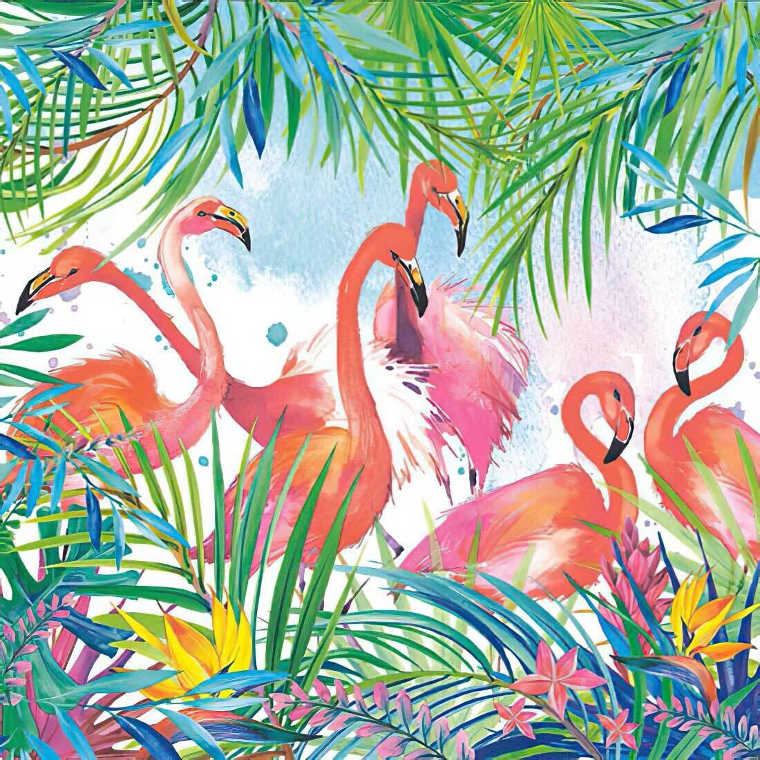 Decoupage Paper Napkins - Bird - Flamingos (1 Sheet)