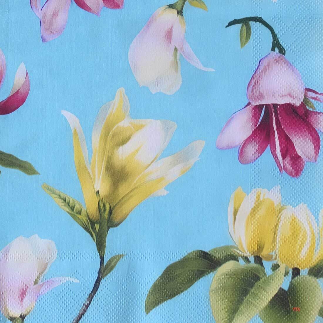Decoupage Paper Napkins - Floral - Malou Turquoise (1 Sheet)