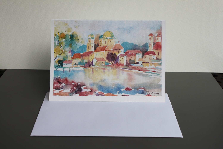 Klappkarte Passau mit Kuvert auf echtem Büttenpapier gedruckt