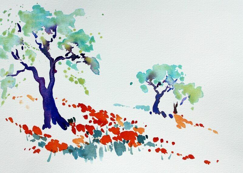 Aquarell, Mohn in Leonino, Toskana